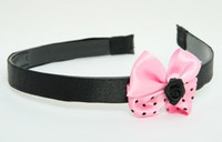 Flower black light pink bow & flower