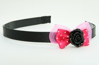 Pink / rose black dark pink bow & flower