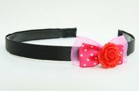 D Pink / rose red dark pink bow & flower