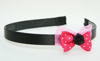 Flower black dark pink bow & flower