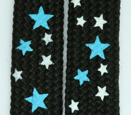 Star S black-blue-white star shoelace