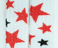 Stars BS white-red-black star shoelace