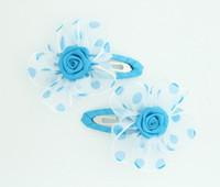 Dot TR blue flower hair clips pair