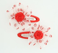 Dot TR red flower hair clips pair