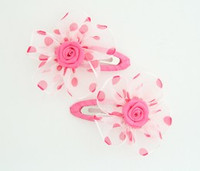 Dot TR pink flower hair clips pair