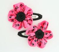 Skull D.pink flower hair clips pair
