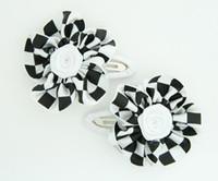 Check big white flower hair clips pair