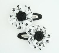 Skull white flower hair clips pair