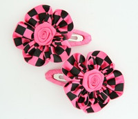 Check big pink flower hair clips pair