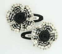 Scotch black flower hair clips pair