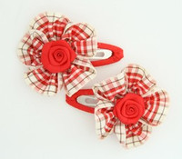Scotch red flower hair clips pair