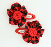 Check big red flower hair clips pair