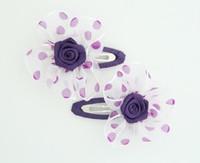 Dot TR purple flower hair clips pair