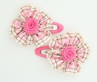 Scotch pink flower hair clips pair