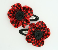 Check small red flower hair clips pair