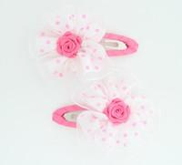 Dot white-pink flower hair clips pair