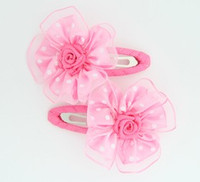 Dot L-pink flower hair clips pair