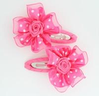 Dot D-pink flower hair clips pair