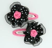 Dot black-white / pink flower hair clips pair