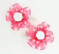 Dot TR D.Pink-white flower hair clipspair