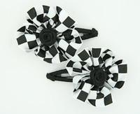 Check big black flower hair clips pair