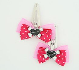 D.Pink / heart bone black-white dark pink sweet