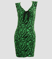 Front - DV zebra green V neck pin up