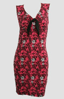 Front - DV skull rose pink V neck pin up