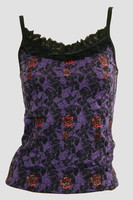 Front - PL skull rose purple lace top pin up