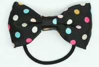 Dot rainbow bow hair tie