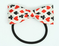 Poker white bow hair tie