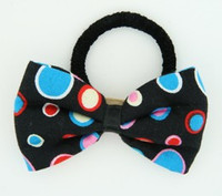 Dot retro black-blue bow hair tie