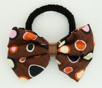 Dot retro brown bow hair tie