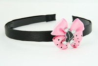 L.Pink / heart bone black-white light pink bow & sweet