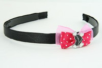 D.Pink / heart bone black-white dark pink bow & sweet