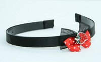 Black-Red / strawberry red bow & sweet