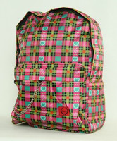 Check heart pink check rucksack
