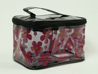 Flower black toiletry bag