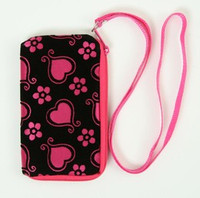 Heart flower D-pink mobile bag