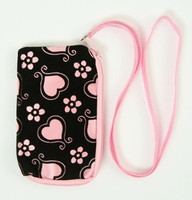 Heart flower L-pink mobile bag