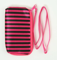 Stripe black-pink mobile bag