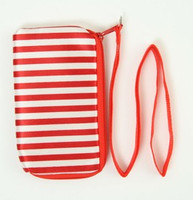 Stripe red-white mobile bag