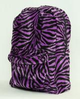 Zebra purple fluffy rucksack