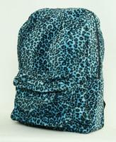 Leopard blue fluffy rucksack