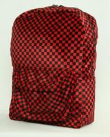 Check red fluffy rucksack