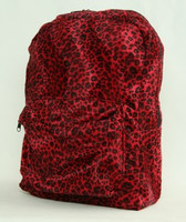 Leopard red fluffy rucksack