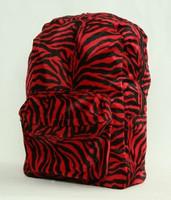 Zebra red fluffy rucksack
