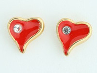 C heart gold colorful stud