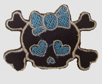 S cute skull blue medium patch