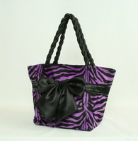 Zebra purple F bow design bag